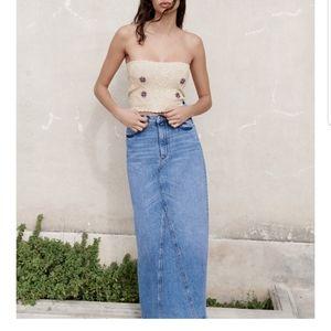 Zara Sz 2 xs long denim maxi skirt
